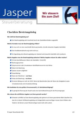 Checkliste Bewirtungsbeleg Jasper Steuerberatung Köln